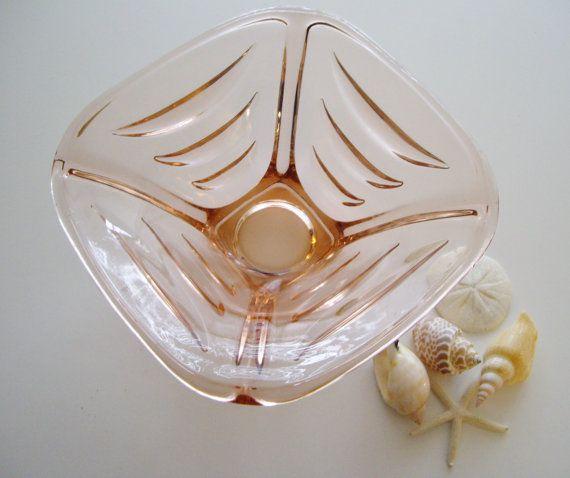 Pink Glass Bowl - Czech Sklo Union Art Glass Bowl by Hermanova Hut Glassworks - Designed by Vaclav Hanus. $64.00, via Etsy.