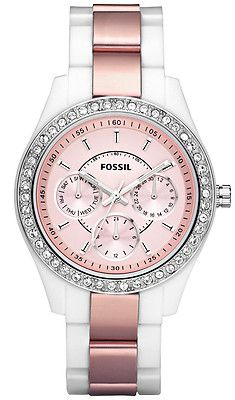 NWT Fossil ES 2802 White with Pink BLING Women's Watch