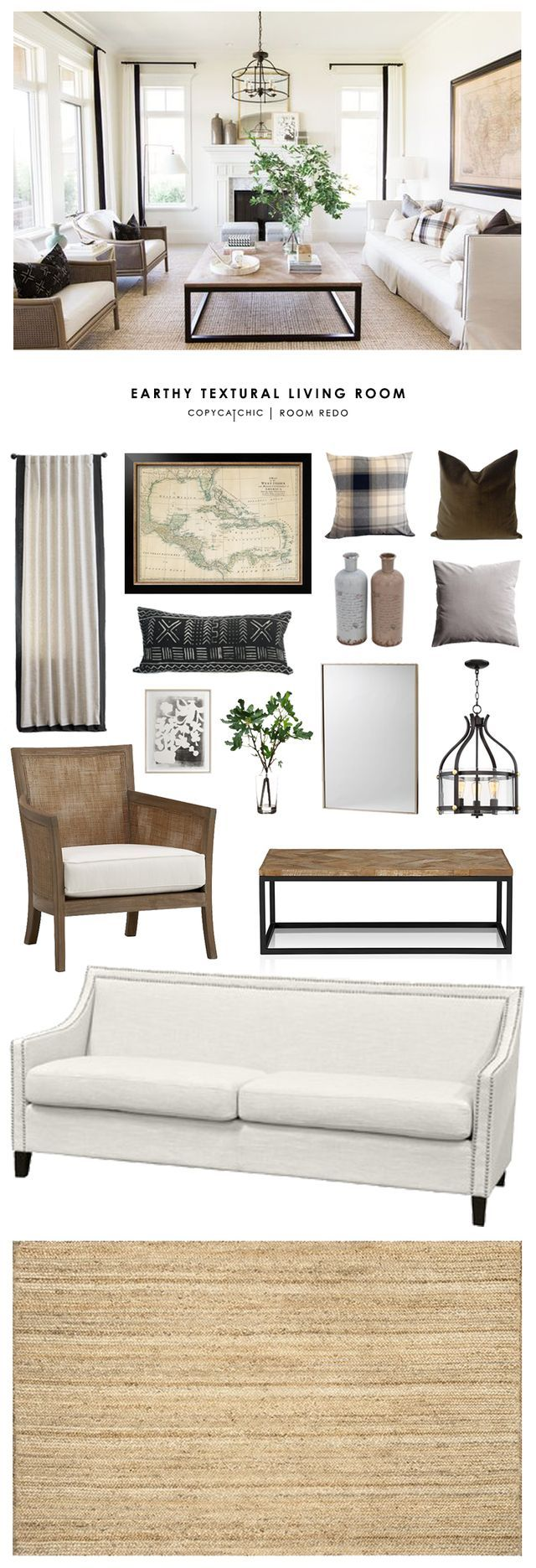 TOTAL | $3,613   SOFA $849 | CHAIRS (EA) $594 | COFFEE TABLE $145 OR THIS ONE $499 | RUG $220 | CHANDELIER $300 | MIRROR $199 | VASES (2) $49 | FLORAL ART $109 | MAP $188 | CURTAINS (EA) $118 | BROWN