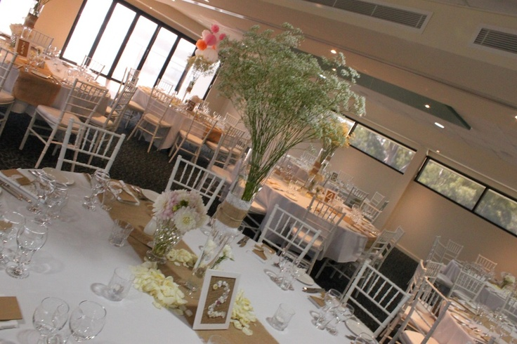 Jenna's #vintage wedding #burlap runners #baby's breath centrepieces