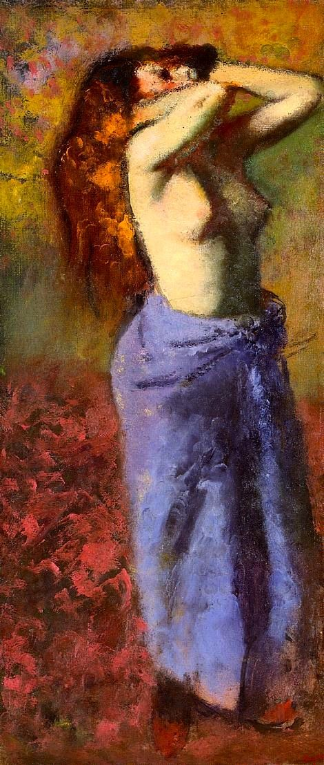 Edgar Degas - 1888 - Woman In A Blue Dressing Gown, Torso Exposed