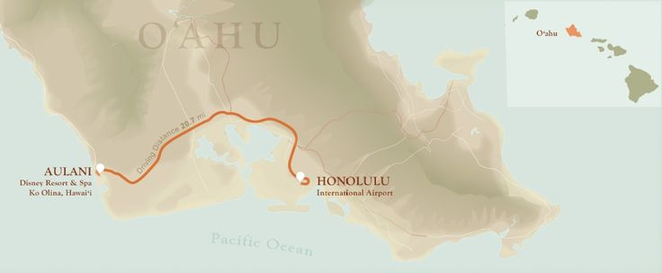 Map of O'ahu with directions from Honalulu International Airport to Aulani Hawaii Resort & Spa