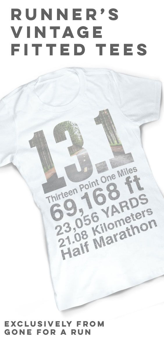 Show off your half marathon accomplishment with our Vintage Running Fitted T-Shirt - 13.1 Math Miles, exclusively from Gone For a Run!