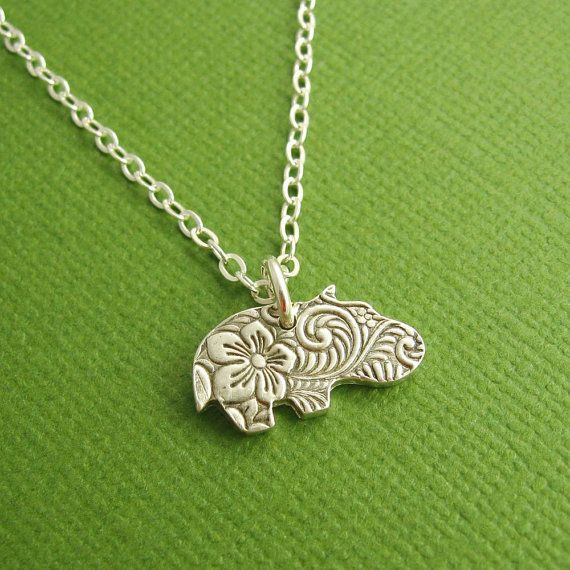 Hippo Necklace, Baby Hippo Necklace, Flowered Hippo, Fine Silver, Sterling Silver Chain, Made To Order on Etsy, $45.00