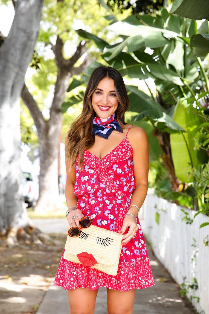 Red, White, & Blue Dress // How to Style a Neck Scarf