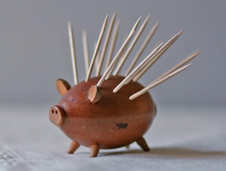 Wooden Pig Toothpick Holder