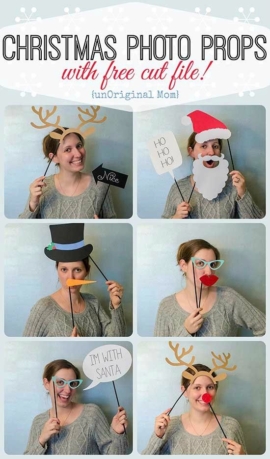 Christmas Photo Booth Props with FREE cut file for your Silhouette |unOriginalMom.com | #christmasparty #photoprops #silhouette