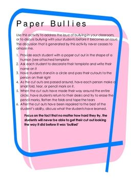 This quick and simple activity is a powerful way to demonstrate the lasting and damaging effects of bullying to students. This activity generates d...