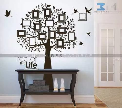 viniles decorativos arbol genealógico con marcos para fotos