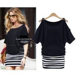 Two Tone Stripe Short Dress