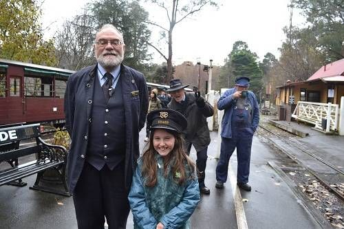 Child with Puffing Billy conducto