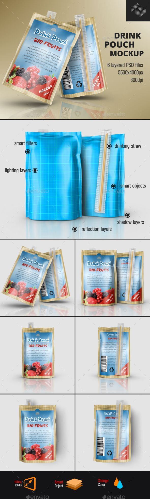 Laminated Foil Drink Pouch Mockup. Download here: http://graphicriver.net/item/laminated-foil-drink-pouch-mockup/15719528?ref=ksioks
