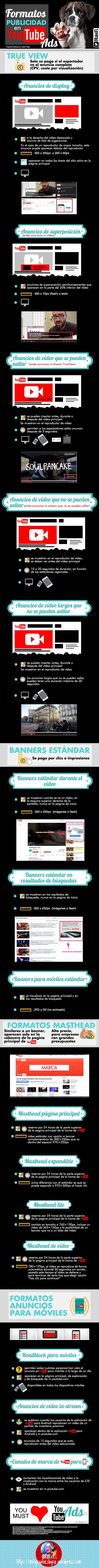 YouTube: guía de formatos de publicidad #infografia #socialmedia #marketing