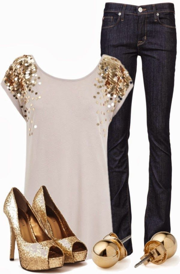 #DateOutfits | Golden Glitz  A.L.C. top, HUDSON jeans, Odeon shoes, American Apparel earrings  by qtpiekelso