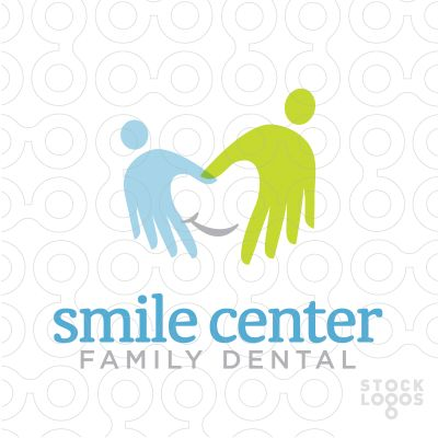 Two caring hands form a smiling tooth. This is a great logo template for a family dentist practise. Moms and dads will feel confident about choosing your dental office for their family and kids will be drawn in too!