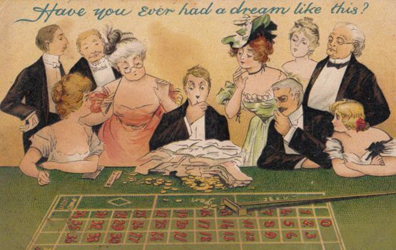 Gambling Man Roulette Casino Croupier Antique Old Comic Humour Postcard