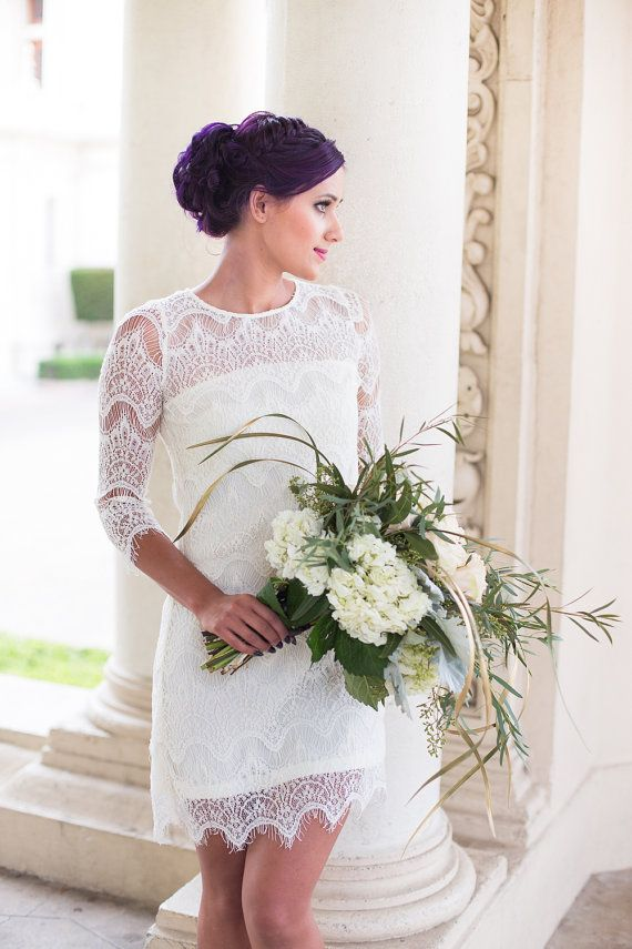 Lace Wedding Dress Short Wedding Dress by IselleBridalStudio