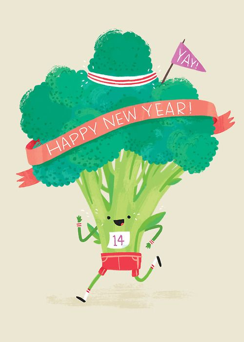 Alyssa Nassner, illustrator, resolves to drink more water, eat her veggies, and be more active! She also doodled this healthy broccoli man to motivate others to succeed. #2014 #goals