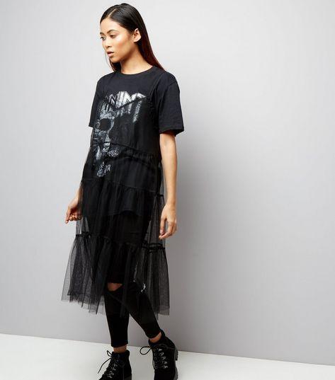 Petite Black Strappy Mesh Slip Dress | New Look