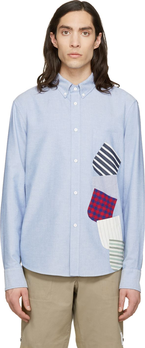 Band of Outsiders Blue Oxford Multi Pocket Shirt