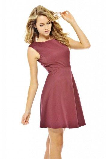 Plain Cap Sleeve Skater Dress - AX Paris