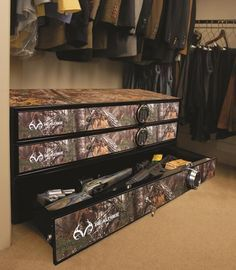 The first gun safe designed to fit under a bed, in a vehicle or stacked in a closet is outfitted in Realtree Xtra camo. Proudly made in the U.S.A