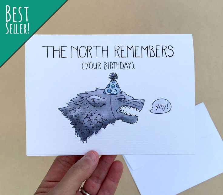 The North Remembers...(even if you forgot)! This humorous birthday card is perfect for the Game of Thrones lover in your life. Featuring a celebratory dire wolf, and blank inside so you can write your own message. CUSTOMIZE IT! Make this card super special with customized text! Choose the Style dropdown menu, then pick Custom Text. In the Notes to Buyer, write what youd like me to add or replace on the existing card. Please add one extra day for processing on customized cards. :) • Item…