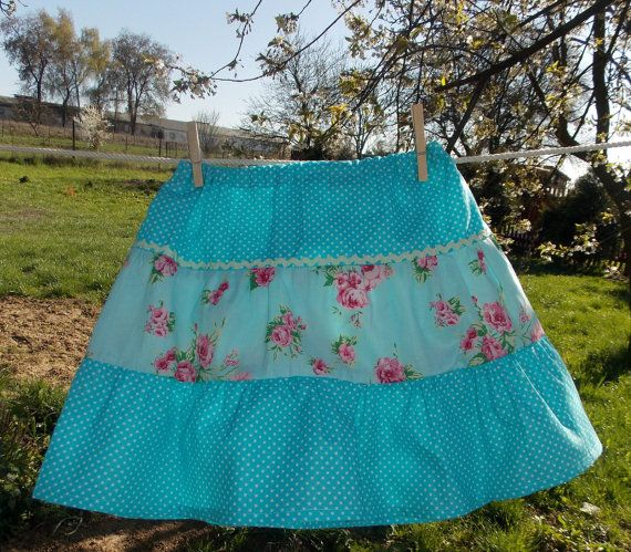 Joan Vilem Boutique Girl Skirt  Blue Polka Dot by AtelierJoanVilem