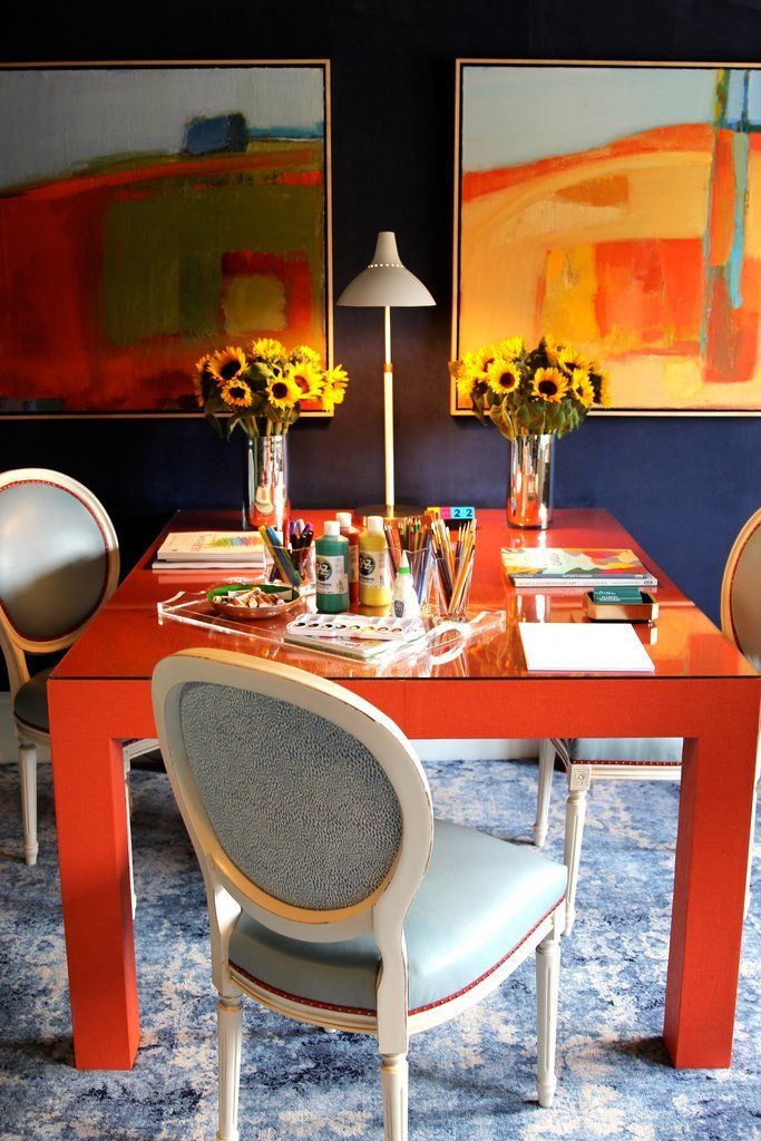 In Love With This Vibrant Blue And Orange Office