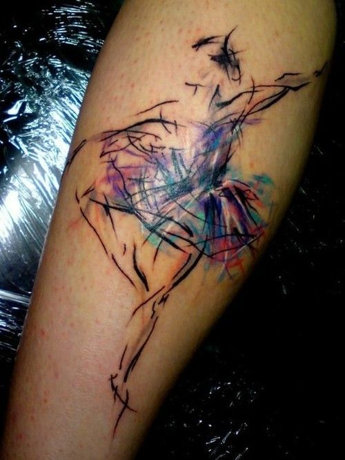 Creatively colored ballerina tattoo, I love this! I could totally see myself getting something like this.