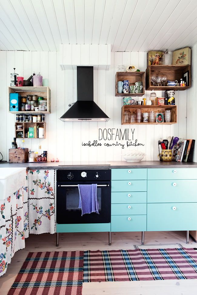I heart these kitchen shelves!! Also a lesson in how to make curtains work as pretty cupboard doors. dosfamily-kitchen-country