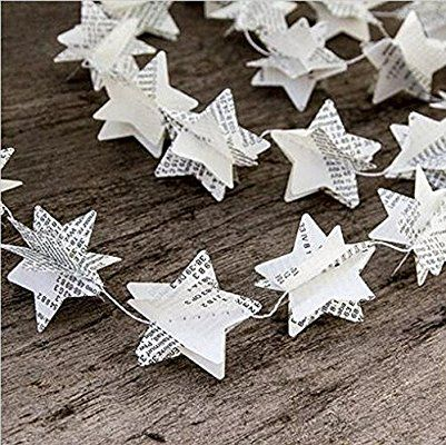 SUNBEAUTY Pack of 2 1.75m Recycled Book Garland Newspaper Star Garland Bunting Nursery Party Holiday Wedding Garland Home Decor