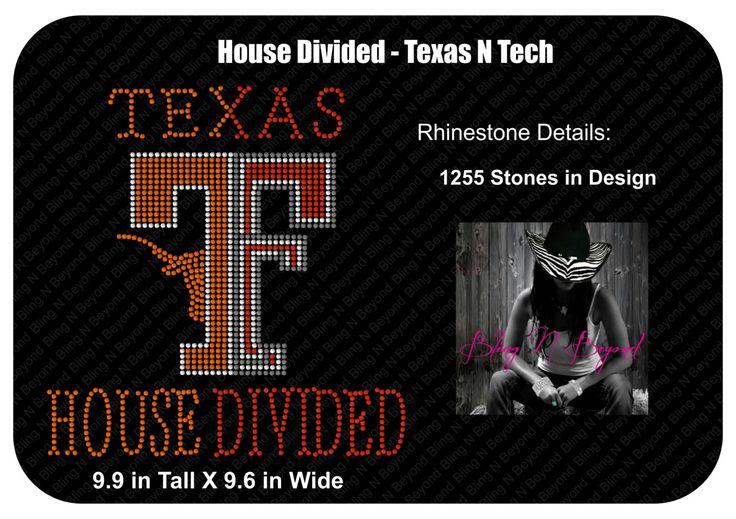 Texas N Texas Tech House Divided Rhinestone Bling Shirt by BlingNBeyondTX on Etsy https://www.etsy.com/listing/257413829/texas-n-texas-tech-house-divided