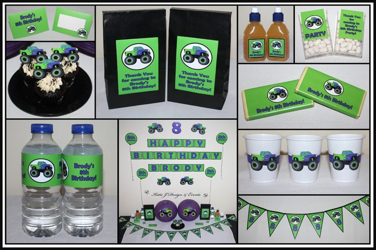 Monster Jam Monster Trucks Personalised Birthday Party Decorations Supplies Packs Shop Online Australia Banners Bunting Wall Display Cupcake Toppers Chocolate Wrappers Juice Water Pop Top Labels Posters Lanterns Invites Cup Stickers Ideas Inspiration Cake Table Katie J Design and Events Monster Truck