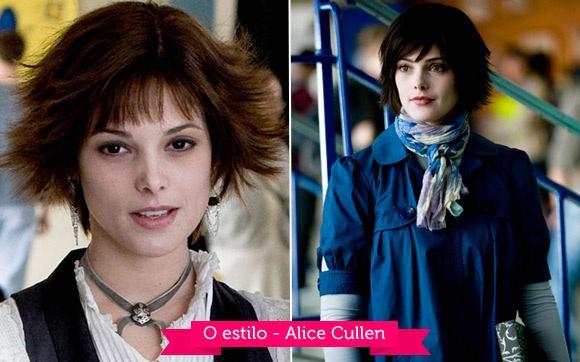 """O estilo - Alice Cullen  Desde """"Crepúsculo"""" Alice se destacou com seu corte de cabelo repicado (na verdade uma peruca), mostrando de cara que ela é a vampira mais fashionista da saga, muitas vezes ajudando Bella com o look! Antes de """"Lua Nova"""", Ashley Greene cortou o cabelo, então ficou um pouco mas fácil colocar a peruca!"""