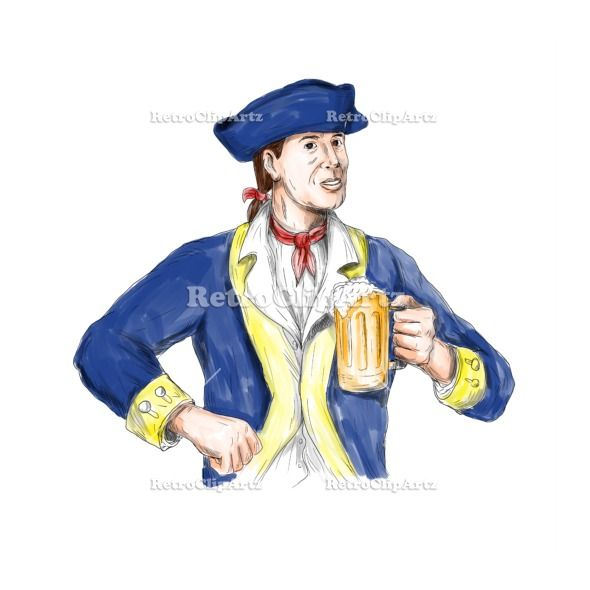 American Patriot Holding Beer Mug Toast Watercolor Vector Stock Illustration.  Watercolor style illustration of an american patriot holding beer mug toasting viewed from front set on isolated white background. #illustration #AmericanPatriot