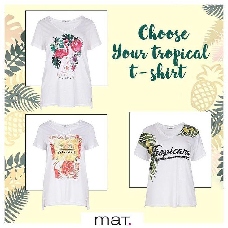 🌴 Ο σημερινός τροπικός καιρός μας προτρέπει να φορέσουμε ένα απλό λευκό t-shirt με super εντυπωσιακά tropical μοτίβα. 🍍 Δεν έχεις απλά να διαλέξεις αυτό που σου αρέσει περισσότερο...! Ανακάλυψε την μπλούζα με tropical τύπωμα φλαμίνγκο ➲ code: 671.1381 Ανακάλυψε την μπλούζα με τύπωμα 'Create Happiness' ➲ code: 671.1382 Ανακάλυψε την μπλούζα με exotic μοτίβο και glitter Tropicana ➲ code: 671.1369 #matfashion #ss17 #realsize #tropical #collection #tropicana #fashion #ootd #style