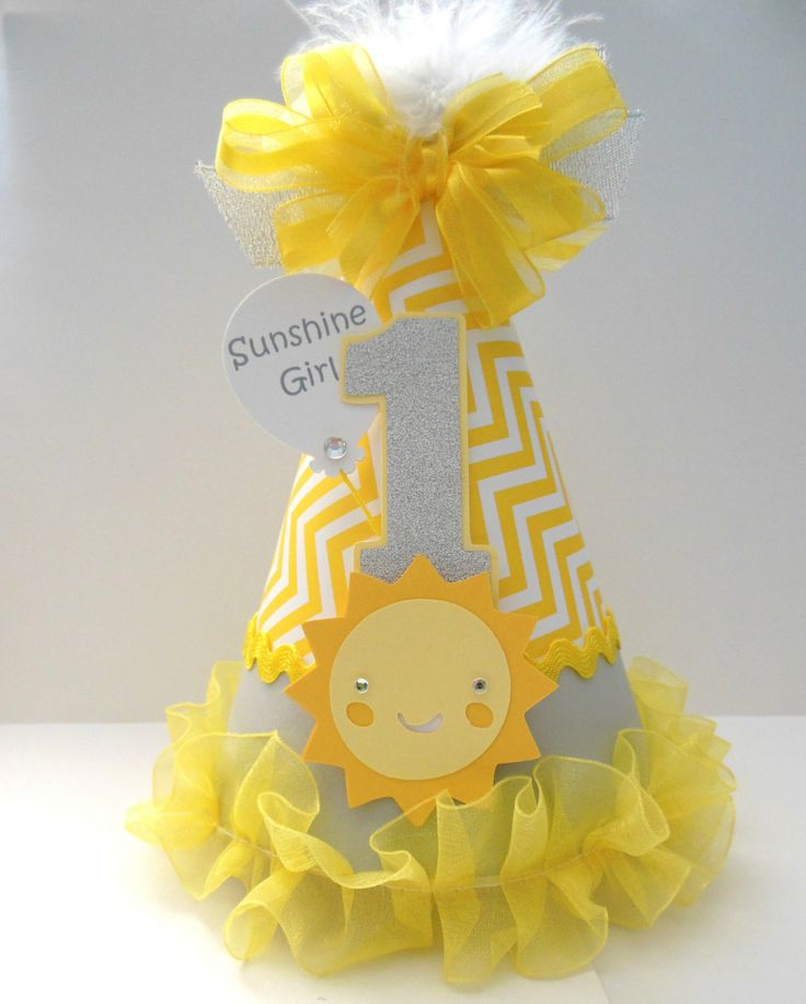 but no smiley sun...  so cute!    Sunshine Girl - Grey and Yellow Chevron - You Are My Sunshine Birthday Party Hat - Personalized. $15.50, via Etsy.