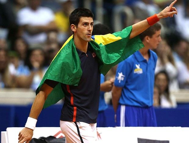 I WAS THERE!!! IT WAS GREAT!!!   Tênis Djokovic e Guga exibição ginásio do Maracanãzinho (Foto: Agência EFE)