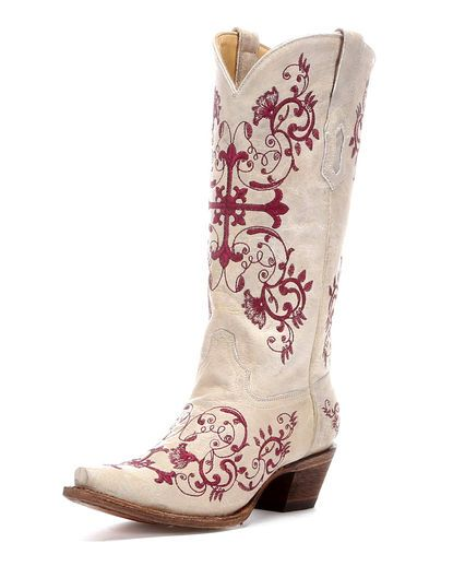 Women's Bone/Metallic Wine Floral Cross Embroidery Boot - A2631 via country outfitter, gorgeous!