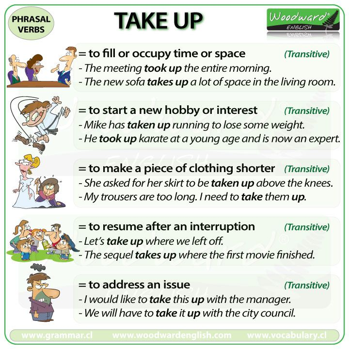 TAKE UP - English Phrasal Verb with meanings and example sentences.