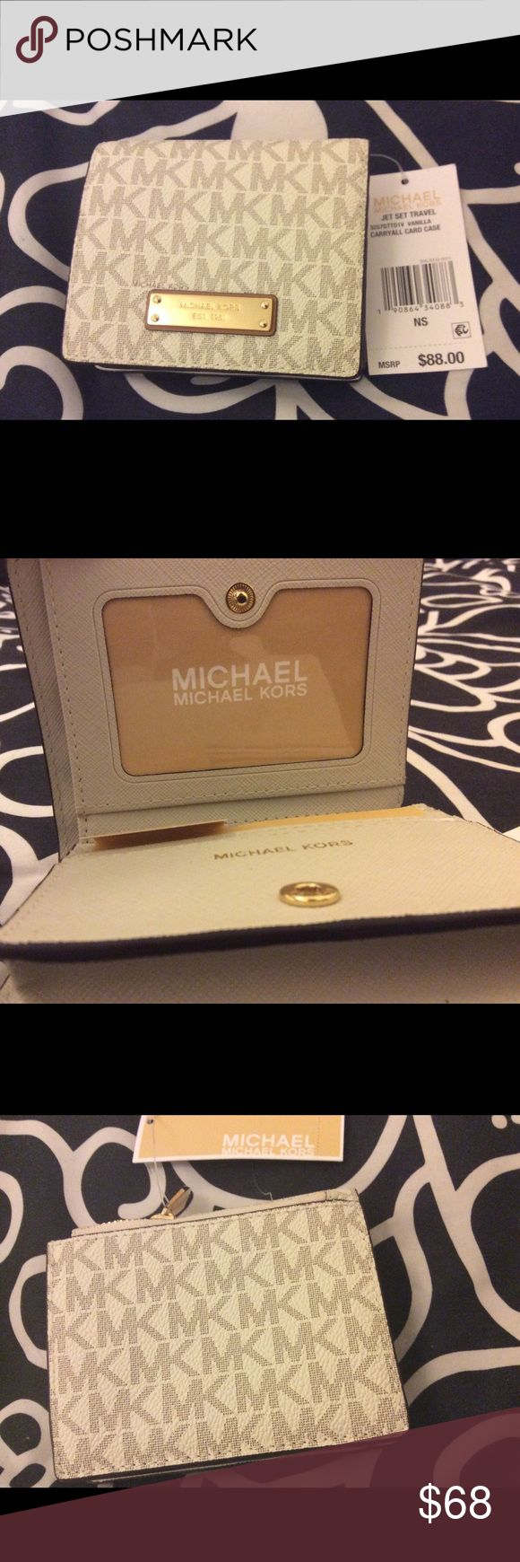 Michael Kors Jet Set Travel Wallet☀️Sale☀️ This gorgeous MK logo wallet in Vanilla is compact. As this wallet is perfect for moderate storage of cash and credit cards, you'll never have to sacrifice style for utility. MICHAEL Michael Kors Bags Wallets