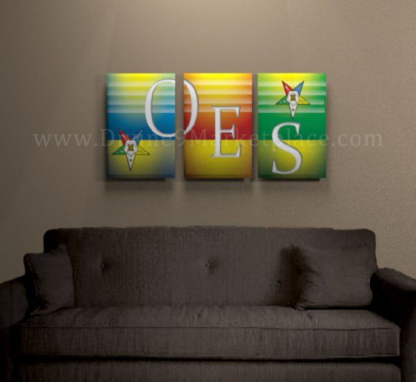 shopping stores online Order of Eastern Star  OES  3 Panel Artwork 23x15  Framed and Stretched  Amazon Everything Else