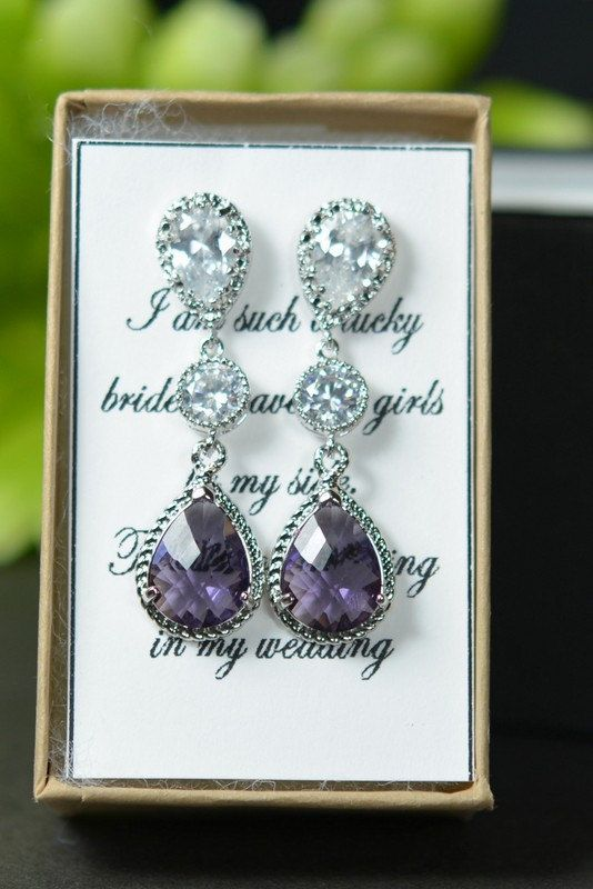 Purple earrings  amethyst purple  eggplant  by thefabwedding2, $39.99  Choose your metal and stone