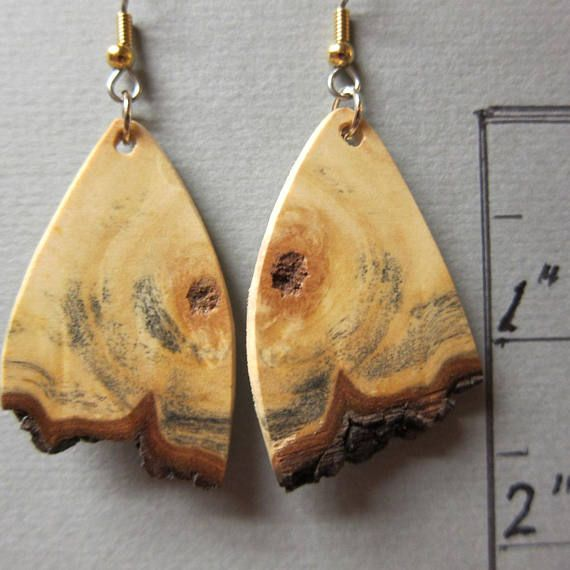 Raw Edge Spalted Tamarind Exotic Wood Earrings hypoallergenic Ear wires handcrafted by ExoticWoodJewelryAnd. Handcrafted in our wood shop. Natural wood, no dyes or colors. Wood Length: 1 1/2 inches. Special care will be used in packaging so your pendant will arrive in pristine condition. Additional wood products: http://www.watercolorsnmore.etsy.com International shipping - please convo for quotes