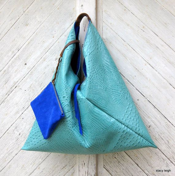 Leather Triangle Hobo Bag Reversible