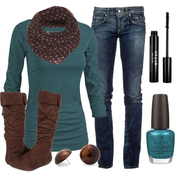Chic Outfit: Colors Combos, Polka Dots, Chic Outfits, Dreams Closet, Fall Wins, Fall Outfits, Chocolates Brown, Outfits Ideas, Brown Boots