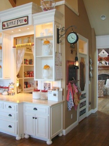 A walk through pantry with a serving counter:)