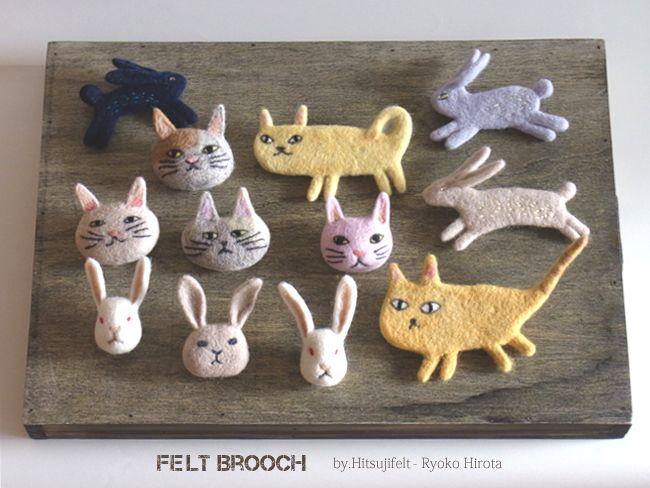 ブローチ -by ヒツジフエルト縮絨室 ヒロタリョウコ[Brooch by Felt Fulling Lab-Ryoko Hirota]20140730
