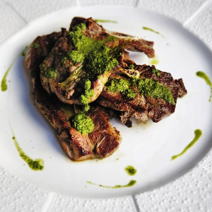 Shoulder Cut Lamb Chops with Homemade Chimichurri